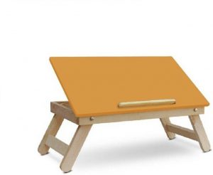 Best laptop Tables in India IBS Multipurpose wooden Bedmate Folding Kids Home Office Orange Desk Mate Solid Wood Portable Laptop Table (Finish Color - orange)